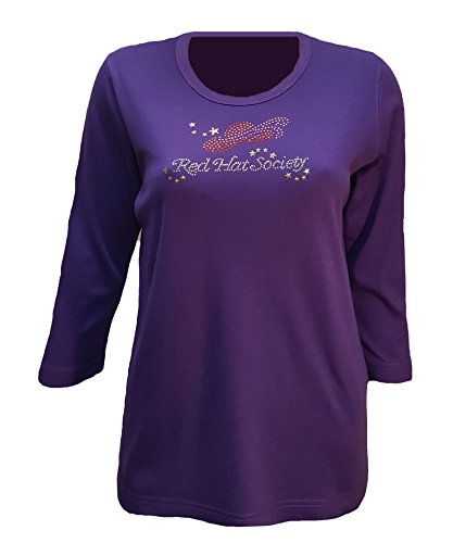 (Red Hat Society Logo Bling Purple Shirt Womens Scoop Neck (Md))