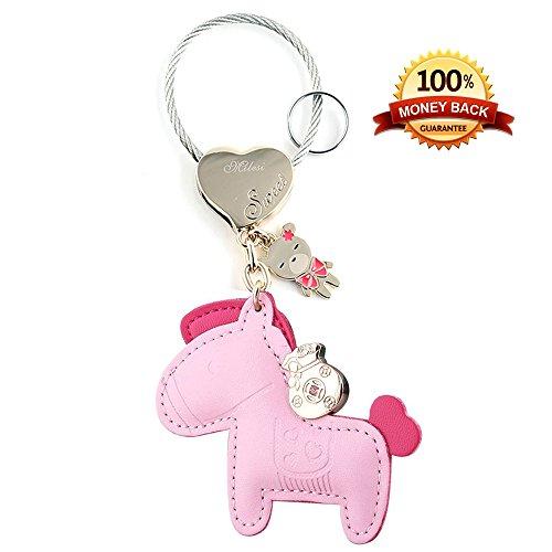 Cute Horse Keychain Organizer, Luxury Leather Car Keys Chain Holder, Purse Pendant Handbag Charm for Christmas/Valentine/Women/Girls, Pink