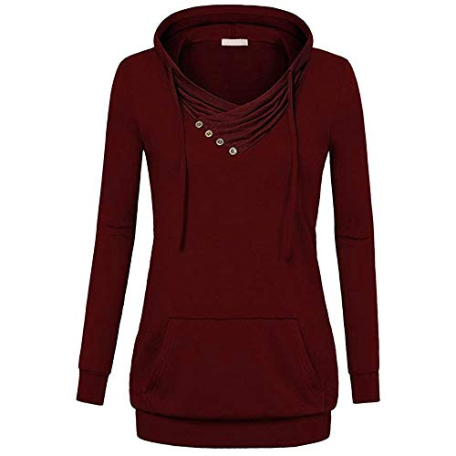 40 34 Automne Hiver Bnitier Col Capuche Shirt Chemisier 38 36 Hoodie Shirt Pullover GongzhuMM 42 Femme Femme Rouge EU Sweat Outwear Sweat U4nZzxwv