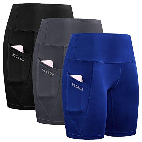 - Neleus Women's Workout Running Compression Shorts with Pocket,High Waist,Tummy Control,9032,3 Pack,Black,Grey,Blue,2XL,EU 3XL