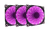 APEVIA 312L-DPP 120mm Silent Black Case Fan with 15 x Purple/Pink LEDs & 8 x Anti-Vibration Rubber Pads (3 Pk)