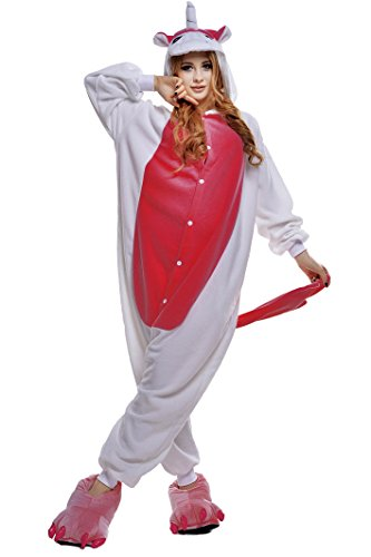 NEWCOSPLAY Unisex Adult Unicorn Pajamas- Plush One Piece Cosplay Animal Costume (L-for Height 67