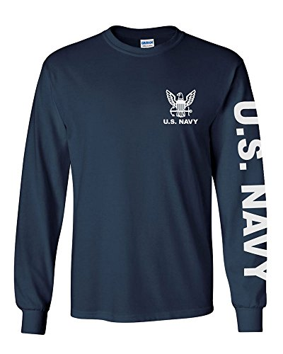 U.S. Navy long sleeve T-shirt. Navy Blue (XXL,