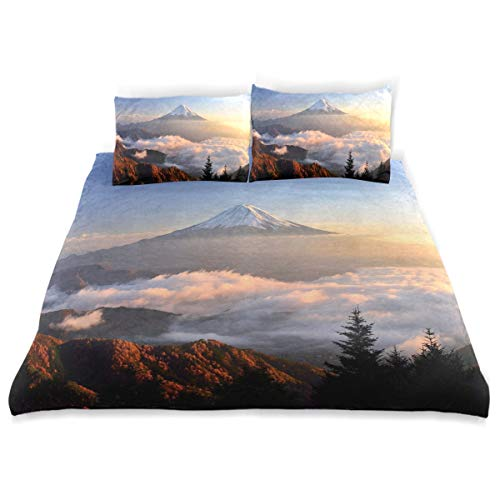 (OSBLI Bedding Duvet Cover Set 3 Pieces Mount Fuji Fog Bed Sheets Sets and 2 Pillowcase for)