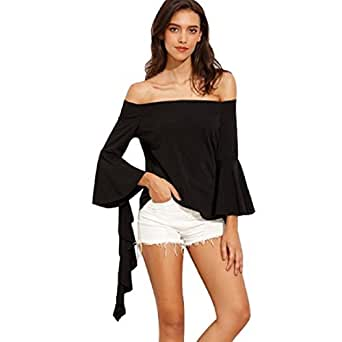 Tongshi Las mujeres de la moda del hombro informal de manga larga de la camiseta remata