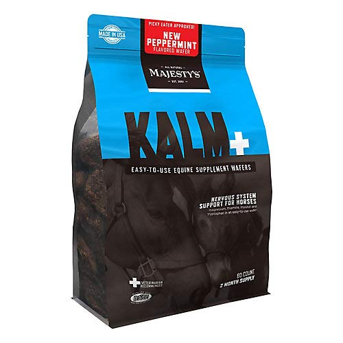 (Majesty's Kalm Peppermint Wafers - Supports Balance Behavior and Normal Nervous System Function in Horses - 60 Count (2 Month Supply))
