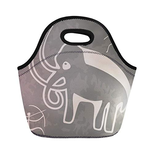 Semtomn Neoprene Lunch Tote Bag Ancient Cave Drawings Animal Archeology Caveman History Hunter Mammoth Reusable Cooler Bags Insulated Thermal Picnic Handbag for Travel,School,Outdoors, Work -