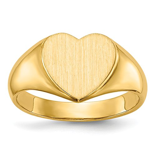 (Roy Rose Jewelry Open Back Womens Signet Ring Heart Shape Custom Personailzed with Free Engraving Available of Initials ~ Size 6.75 in Solid 14K Yellow Gold)