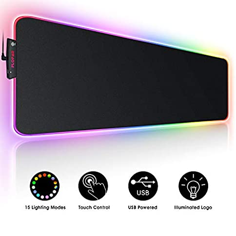 - 41wl4pojvgL - Large RGB Gaming Mouse Pad – 15 Light Modes Touch Control Extended Soft Computer Keyboard Mat, Durable Stitched Edges and Non-Slip Rubber Base for Gamer, Esports Pros, Office Working 31.5X11.8in