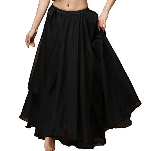 Wuchieal Women's Belly Dance Costume Chiffon Dancing Skirt Sexy Large Swing Dancing Skirts Dress (Black, One Size)
