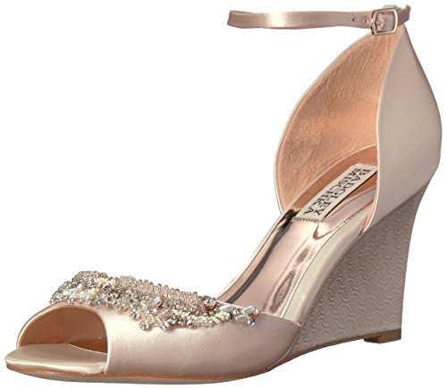 Badgley Mischka Women's Malorie Wedge Sandal, Latte, 7.5 M U