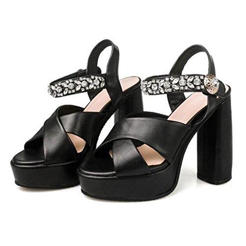 W&LM Hembra Tacones altos sandalias impermeable plataforma original Tacones altos Piedras de Strass sandalias zapatos casuales Black