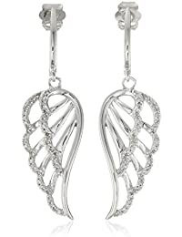 10K White Gold Diamond Angel Wing Earrings (1/5 cttw)