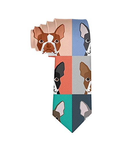 Men's Tie Fashion Neckties Boston Terrier Dog Cartoon Necktie for Wedding Party Meeting Outfit for $<!--$8.88-->