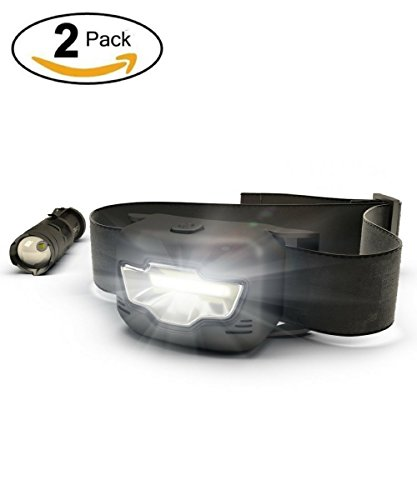 LED Headlamp and Tactical Flashlight, Ultra Bright, 3 Modes White & Red, Zoomable Light, Water Resistant, Best for Camping, Running, Hiking, Ultimate Outdoor Value Pack, - Ultimate Camping