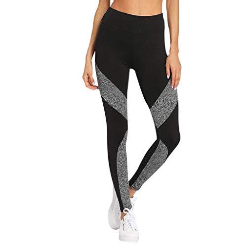 (HEJANG Women's Yoga Sports Workout Athletic Leggings Exercise Running Sexy Stitching Dark Gray Pants Gym 2019 (M, Black))