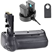 EACHSHOT Pro 70D Battery Grip Kit Hand Grip Works with 6pcs AA Battery or LP-E6 Battery for Canon EOS 70D 80D + 2PCS LP-E6 Battery + Dual Charger + IR Remote