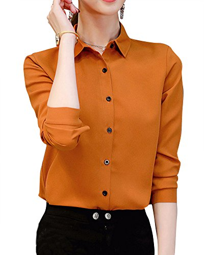 Longues Taille avec Femmes Tops Casual Manches Grande Bouton Chemisier Shirts Blouse Brun ZHqZzwE