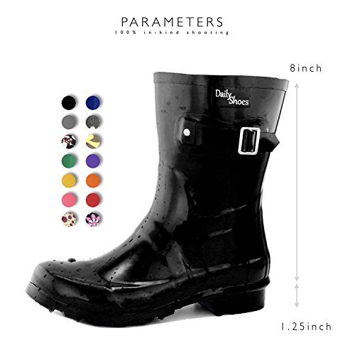 Black Ankle High Women's Buckle Rainboots Hunter Round Toe Mid DailyShoes Rain Calf APW4XwRxx