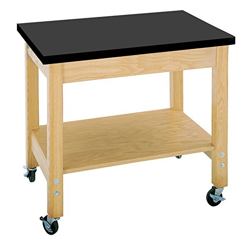 Diversified Woodcrafts 4502K Solid Oak Wood Mobile Demo Cart with Plywood Shelf, ChemGuard Top, 36