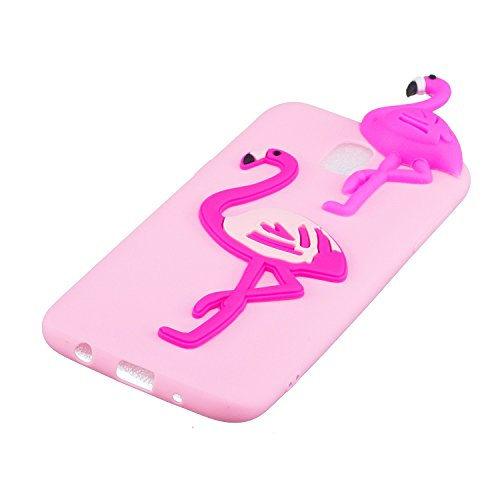 Funda para Samsung j7 2017 (versión Europea) Carcasa Galaxy j7 2017 silicona 3D Cartoon Leton Suave Flexible TPU Móvil Cover para Samsung j730 (5.5 pulgadas) Ultra Delgado Ligero Mate Gel Funda Tapa A Pink Flamingo