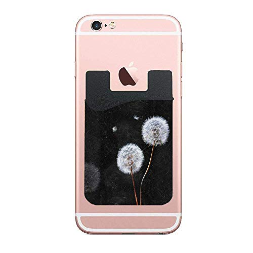 Cusomcardphone Dandelion Noir Cell Phone Card Wallet Card Wallet Universal Compatible, iPhone, iPad, Android etc 2 PCS