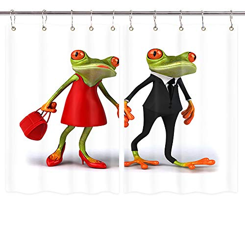 Tree Frog Couple Window Curtain,Tree Frog Couple Wearing A Suit and Red Skirtkitchen Decor Window Curtain Treatment Panels Valance, Drapes Hooks Included 39X55 Inches