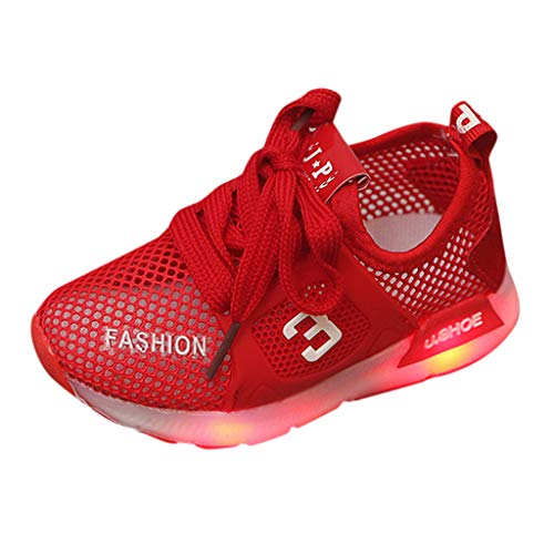 (WENSY Infant Baby Child Male and Female Baby Girl Mesh Breathable Led Lighting Shoes Luminous Sneakers Summer Sandals(Red,26))