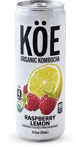 KÖE Organic Kombucha | Raspberry Lemon | Live Probiotics | 12oz. Shelf Stable Cans (12 Pack)