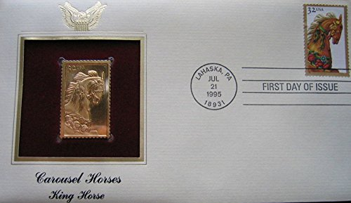 (1995 Carousel King Horse replica 22kt Gold Stamp FDI FDC Golden Cover)