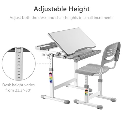 41wl7Sw4FUL - VIVO Height Adjustable Children's Desk and Chair Set, Grey