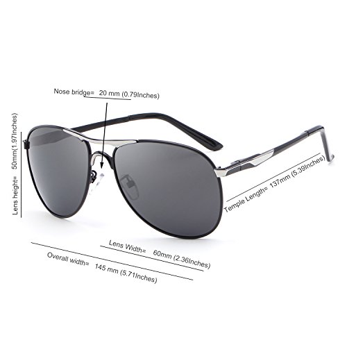 89abc3a6ca HDCRAFTER Metal Frame Mirrored Polarized Aviator Sunglasses for Men Women