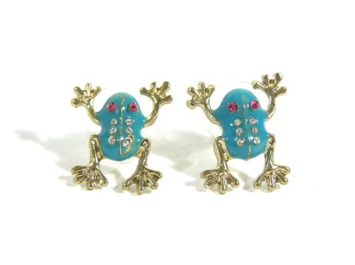 Tree Frog Stud Earrings Teal Rainforest Toad EC04 Pave Posts Fashion ()