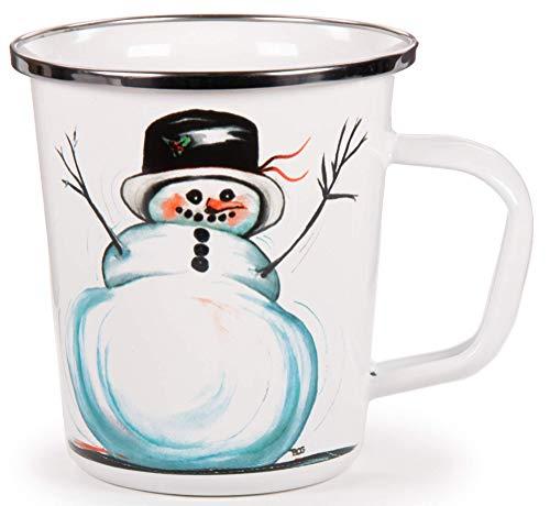 (Enamelware - Winter Snowman Pattern - 16 Ounce Latte Mug)