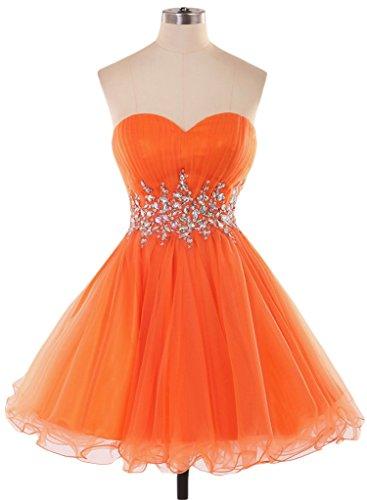 Ange Mariée 2016 Nouveau Mini D'une Ligne Robe De Bal En Tulle Robe De Demoiselle D'honneur Pour Les Juniors D'orange