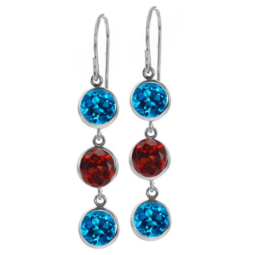 Gem Stone King 3.40 Ct Round London Blue Topaz Red Garnet 925 Sterling Silver 3 Stone Dangle Earrings