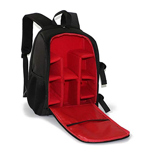 Camera Backpack Outdoor Wear-Resisting DSLR Bag Video Bag Water-Resistant Multi-Functional Breathable A-Red 15.6Inch/30X19X44CM