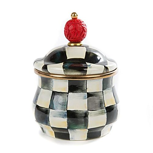 Hand Painted Wood Beads (MacKenzie-Childs Enamel Lidded Sugar Bowl-Courtly Check)