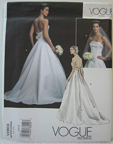 Vogue Bridal Original Pattern V2803 - Misses' Dress (Size 6-8-10)