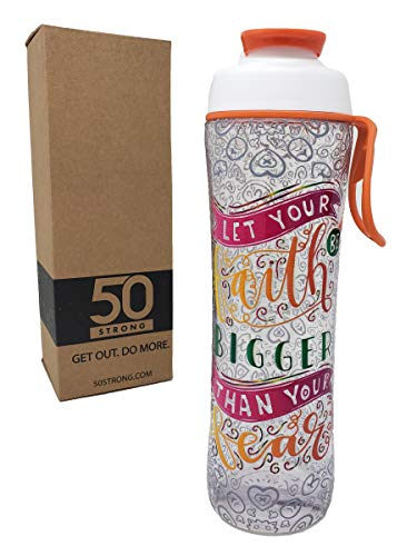- 50 Strong BPA Free Gym Water Bottle with Ice Guard Flip Top Cap & Carry Loop - Cute Designer Prints - Perfect for Men, Women, Sports & Workout - 24 oz. - Made in USA (Faith is Bigger, 24 oz.)