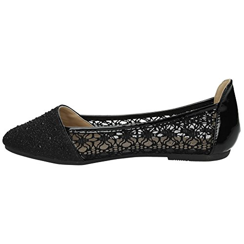 Annabel Lace Diamante Flat Dolly Shoes Womens Pumps Ballerinas Ballet Shoes - SWANKYSWANS BCyhFH