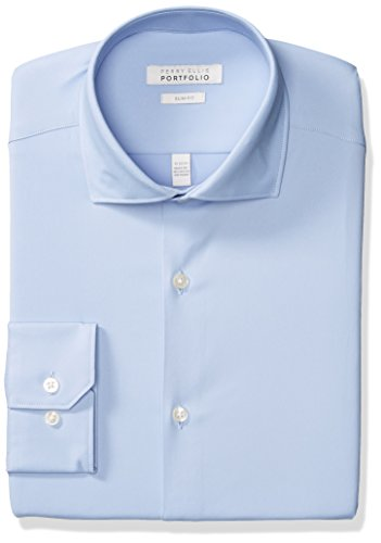 (Perry Ellis Men's Slim Fit Spread Collar Performance Dress Shirt, Light Blue Solid, 15 32/33)