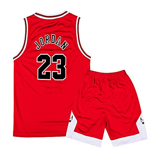 - ZETIY Little Boys 2-Piece Basketball Performance Tank Top and Shorts Set (M, Red)