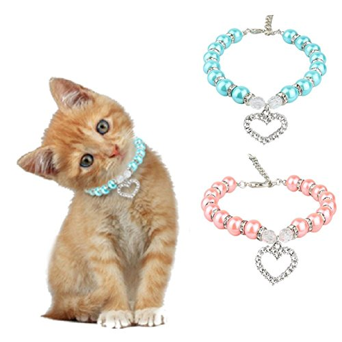 Stock Show 2Pcs/Pack Pet Pearl Necklace with Love Heart Pendant Dog Cat Fancy Princess Style Blingbling Jewelry Rhinestones Collar for Small Pets Cats Puppy Chihuahua Yorkie, Pink&Blue (Collar Rhinestone Kitten)