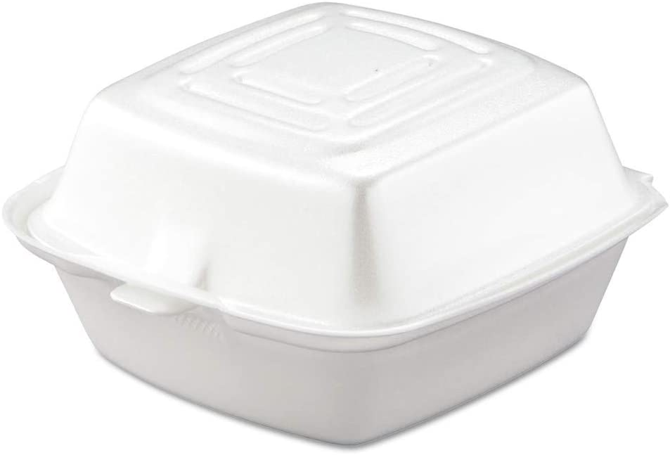 DART CONTAINER Dart Carryout Food Container, Foam, 1-Comp, 5 1/2 x 5 3/8 x 2 7/8, White (Case of 500), 1 Compartment