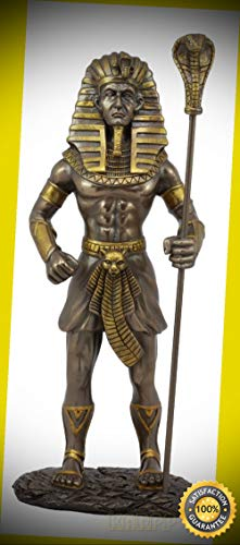 KARPP Egyptian Pharaoh King TUT with Cobra Sceptre & Royal Nemes Statue Gods of Egypt Perfect Indoor Collectible Figurines