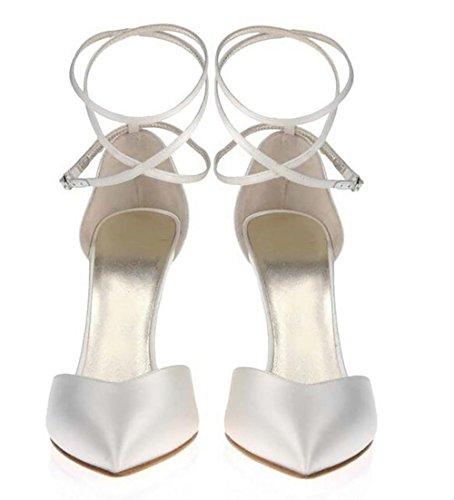 SYYAN Mujeres Satín Puntiagudo Correas Cruzadas Piedras De Strass Hecho A Mano Bomba Boda Zapatos Blanco White