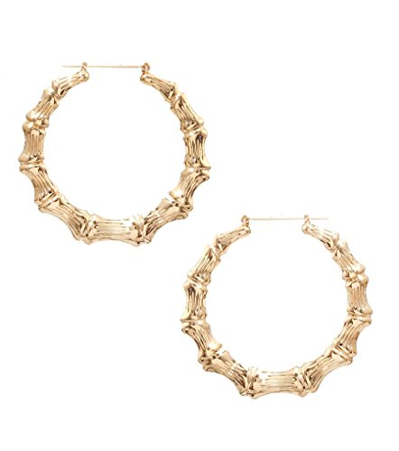 Gold Tone Bamboo DoorKnocker Hoop Statement Earrings Ol' Skool Hip Hop Hollow Thin - 3