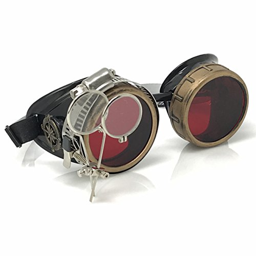 Enjoy Your Steampunk Victorian Style Goggles with Compass Design, Rose Red lenses & ocular Loupe
