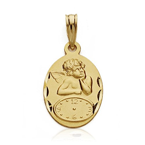 Médaille pendentif Cherub 19mm 18k montre en or. bébé heure de naissance [AA7422]